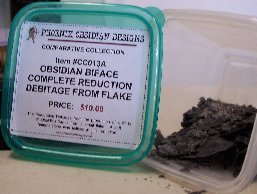 Item #CC013A - Obsidian Biface Complete Reduction Debitage from Flake