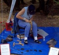 Dr. Arizona giving a flintknapping demonstration.  Click Here to find out more about her and booking a demonstration for your event or classroom.